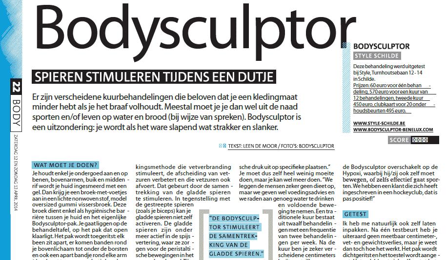 Interessant Artikel over BodySculptor in Gazet van Antwerpen