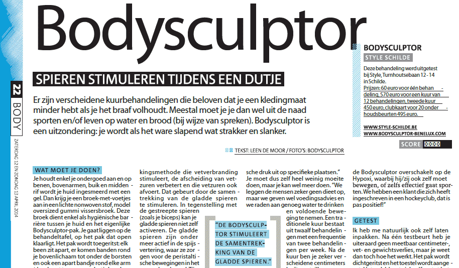 Interessant Artikel over BodySculptor in Gazet van Antwerpen